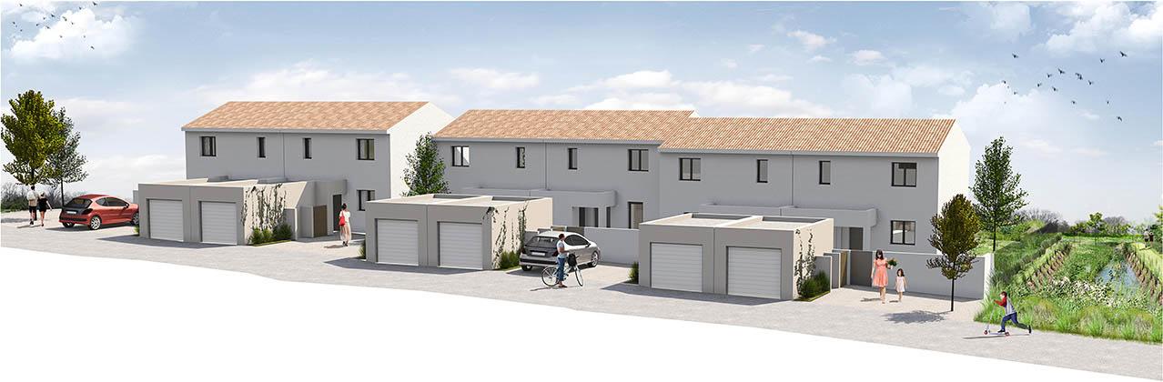 Vue en perspective d'un ensemble de maisons individuelles du Bosquet à Junas