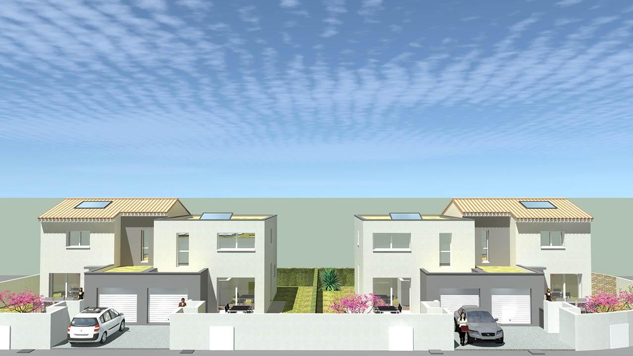 Vue en perspective d'un ensemble de quatre maisons individuelles à Pignan